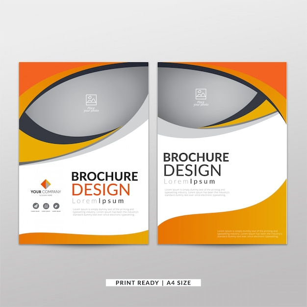 Corporate orange brochure Free Vector