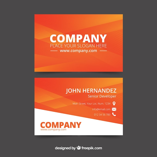 Corporate orange card Free Vector