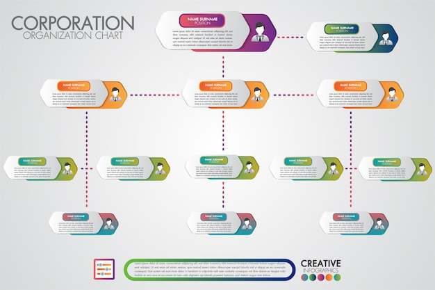Corporate organisation chart template with business people icons Premium Vector