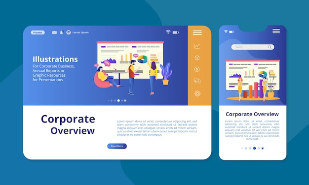 Corporate overview illustration on the screen for web or mobile display. Premium Vector