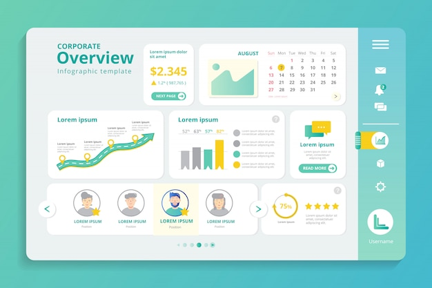 Corporate overview infographic template Premium Vector