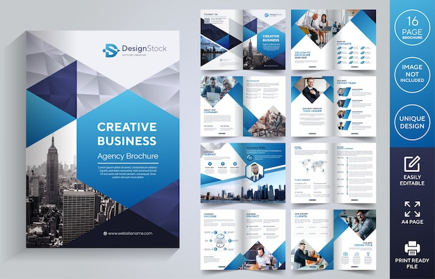 Corporate pages brochure template Premium Vector