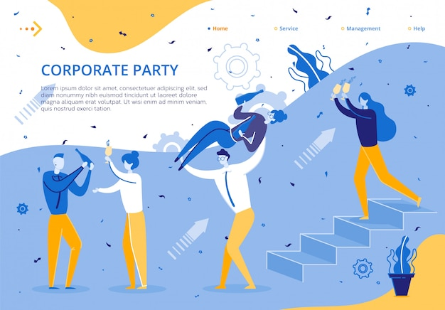 Corporate party for company business employees Premium Vector