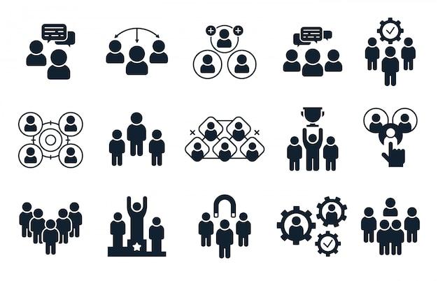 회사 사람들 아이콘입니다. 명, 사무실 팀워크 그림 및 비즈니스 팀 실루엣 아이콘 세트 프리미엄 벡터