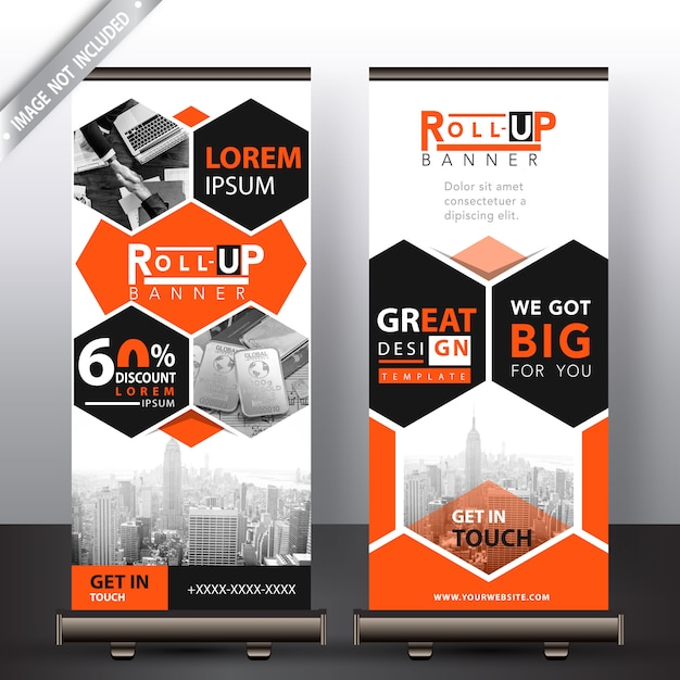 Corporate polygonal roll up banner Free Vector