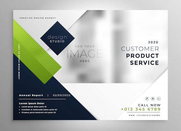 Corporate presentation brochure template in geometric style Free Vector