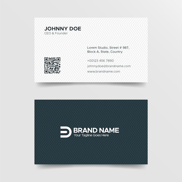 Corporate professional black and white business card template Premium Vector