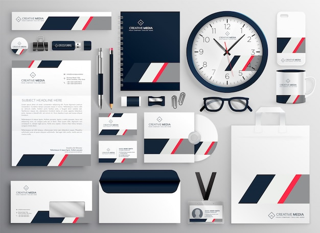 corporate professional business brand stationery set vector free