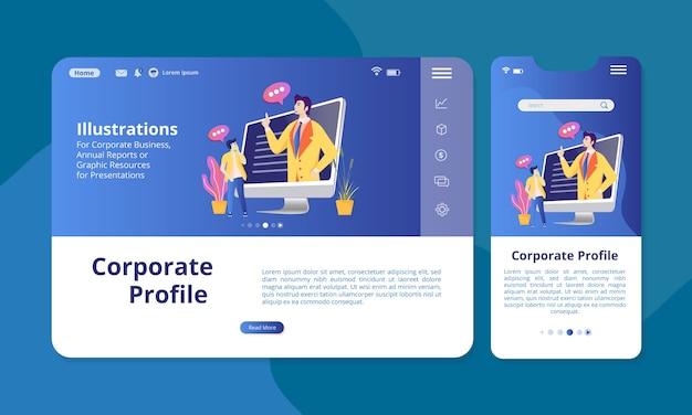 Корпоративный профиль на экране для веб или мобильного дисплея. Premium векторы