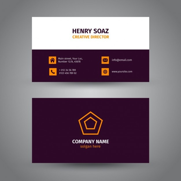 Corporate purple business card vector free download for Purple business cards