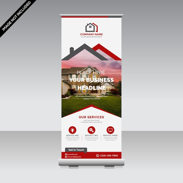Corporate roll up banner premium Premium Vector
