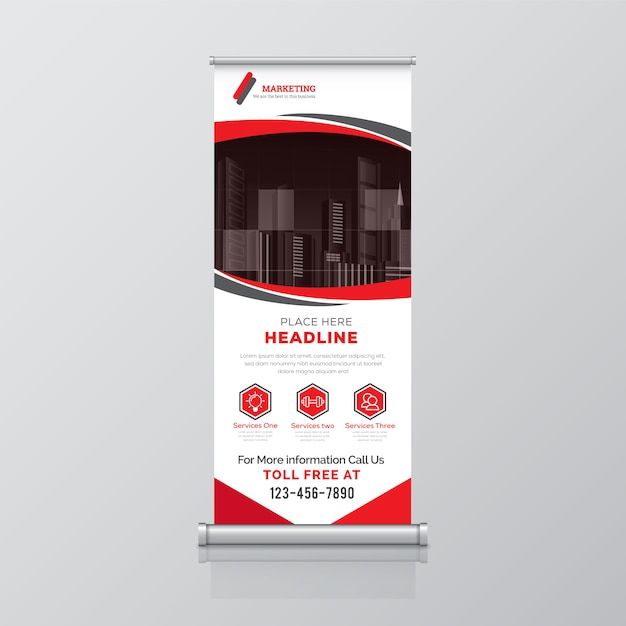 Corporate roll up banner template Premium Vector
