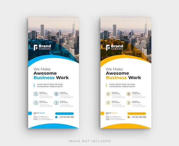 Corporate roll up standee banner template Premium Vector