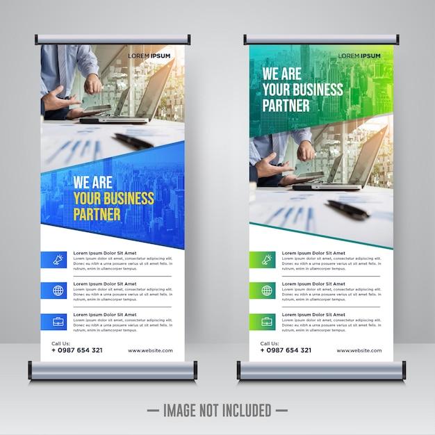 Corporate rollup or x banner design template Premium Vector