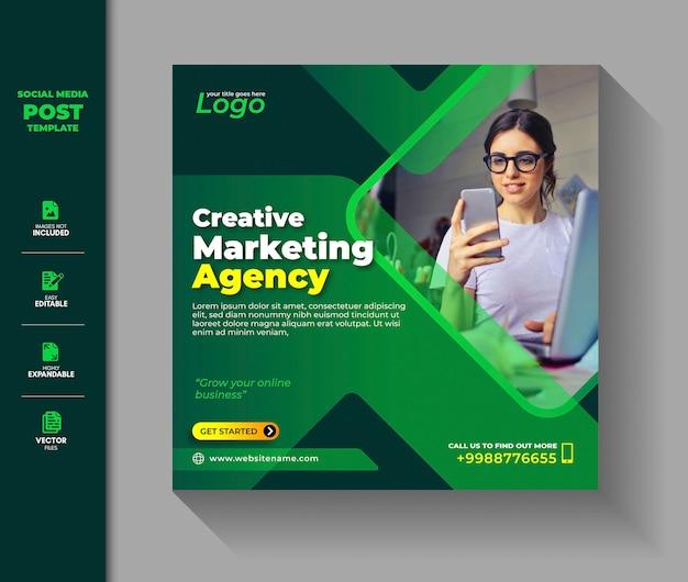 Корпоративные социальные медиа post square баннер цифровой маркетинг продвижение бизнеса Premium векторы