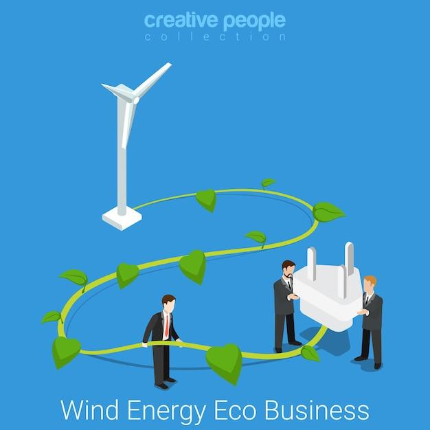 Корпоративная социальная ответственность. плоская изометрическая ветровая энергия эко бизнес-концепция большой ствол ветряной турбины и вилка розетки. Бесплатные векторы