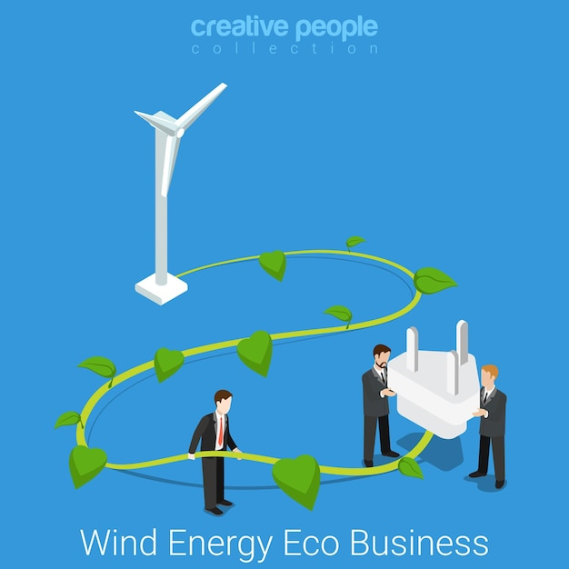 Corporate social responsibility. flat isometric wind energy eco business concept  big wind turbine plant stem and power outlet plug. Free Vector