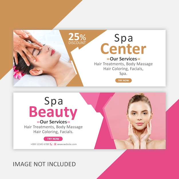 Corporate spa banner template Premium Vector