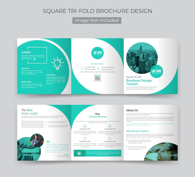 Corporate square trifold brochure template Premium Vector