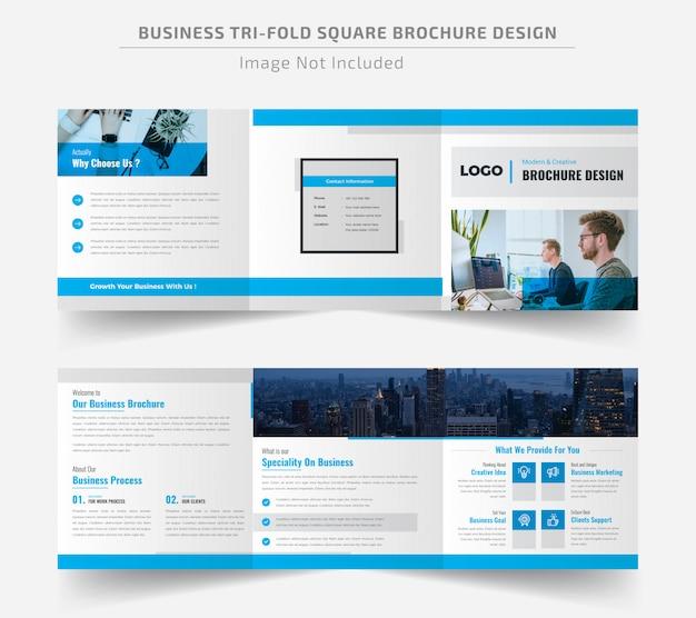 Corporate square trifold brochure template Premium Vector