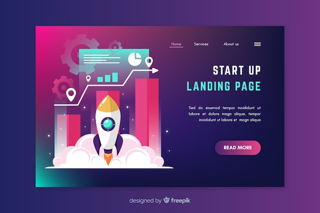 Corporate start up landing page design Free Vector