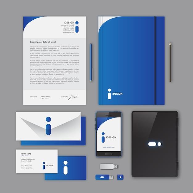 Corporate Stationery: Corporate Stationery, Blue Color Vector