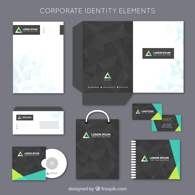 corporate stationery elements vector free download
