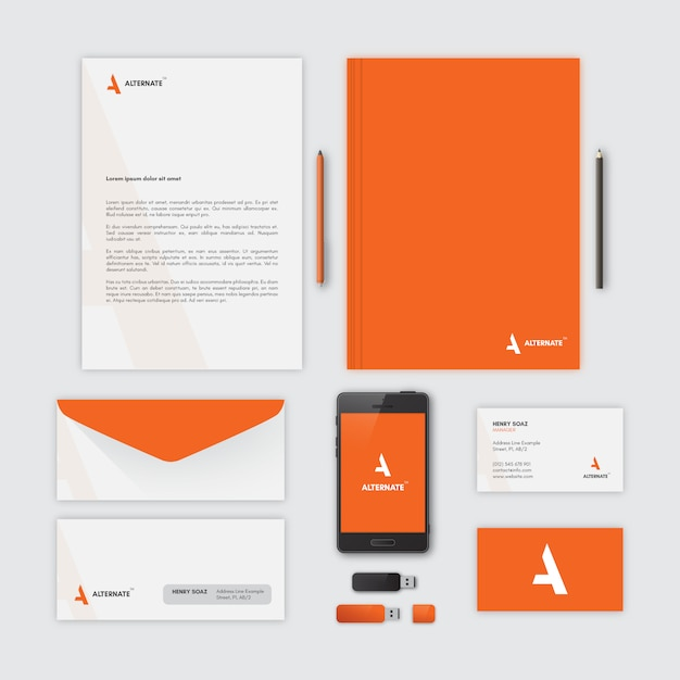 corporate stationery orange vector free download