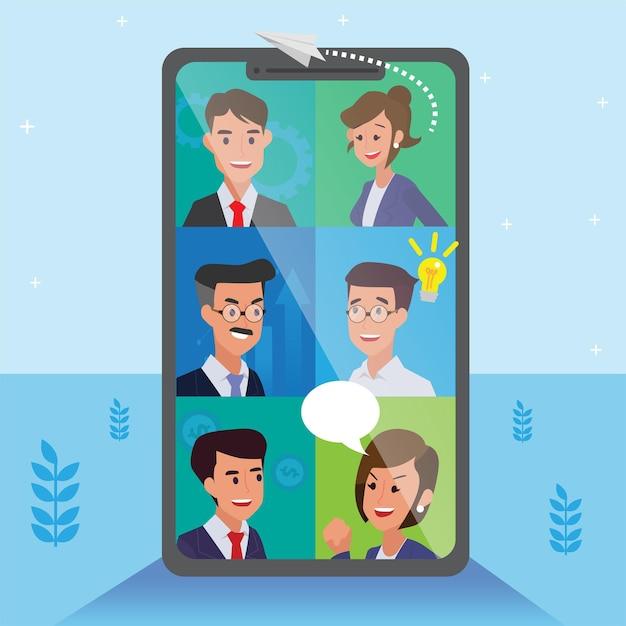 Team aziendale che fa riunione di squadra online su visione e missione, successo della leadership e concetto di progresso della carriera, illustrazione piatta, splendido team aziendale. Vettore gratuito