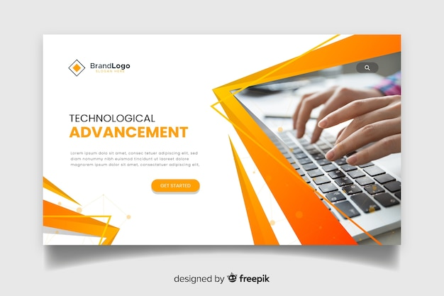 Corporate technology landing page Free Vector