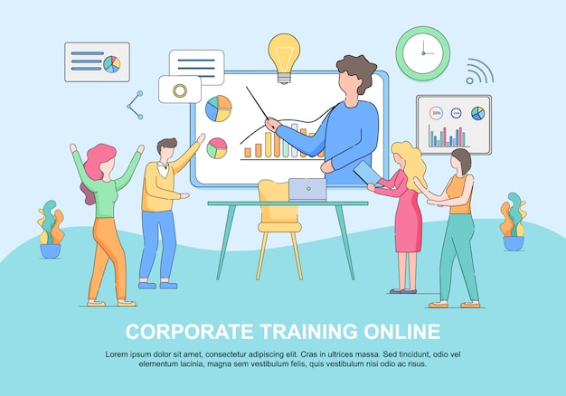 Corporate training online horizontal web template with copy space Premium Vector