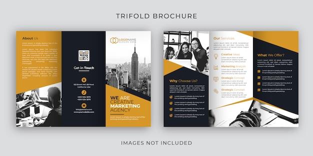 Corporate tri-fold brochure template design Premium Vector