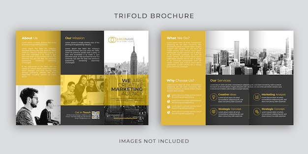 Corporate tri-fold brochure template design Premium Vector
