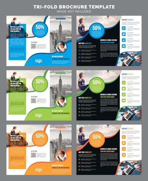 Corporate trifold brochure template Premium Vector