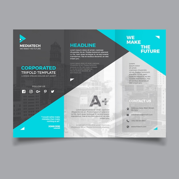corporate trifold template free vector
