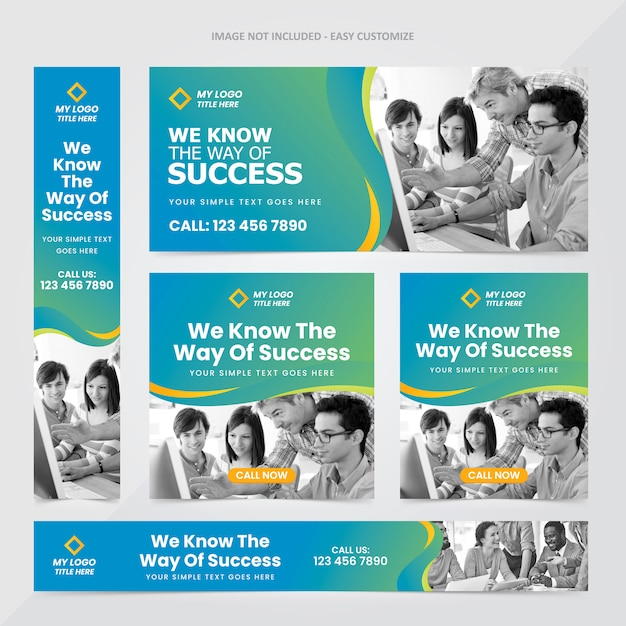 Corporate web banner ad set template Premium Vector