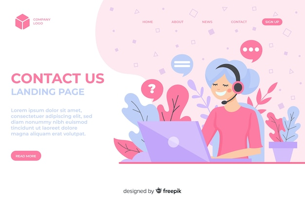 Corporate website landing page Free Vector