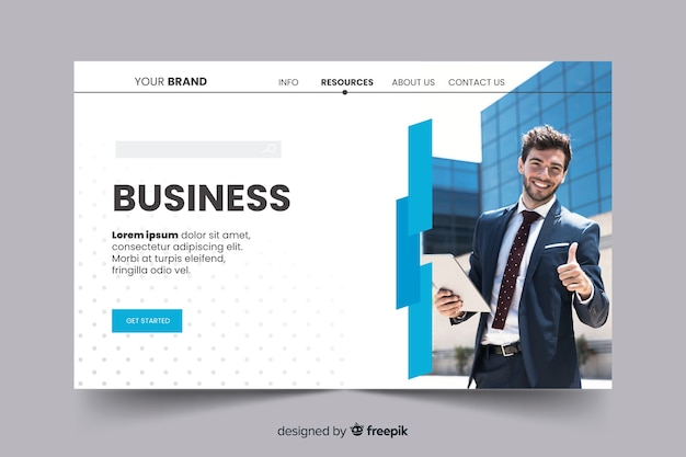 Corporation business landing page with photo Free Vector