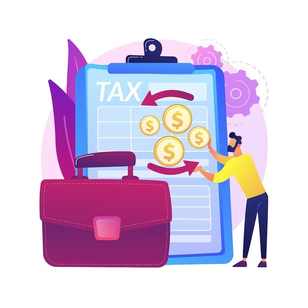 法人所得税申告書の抽象的な概念図。会社の所得申告書、法人会計、税務申告書作成、財務活動、法人税。 無料ベクター