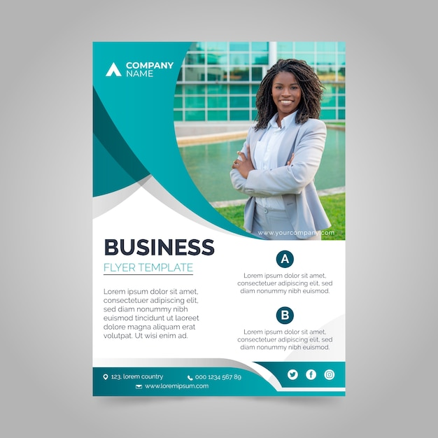 Corporative annual business report with photo Free Vector