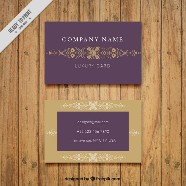 Corporative Business Card With A Golden Frame Free Vector