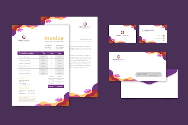 Corporative business invoice and business card Free Vector