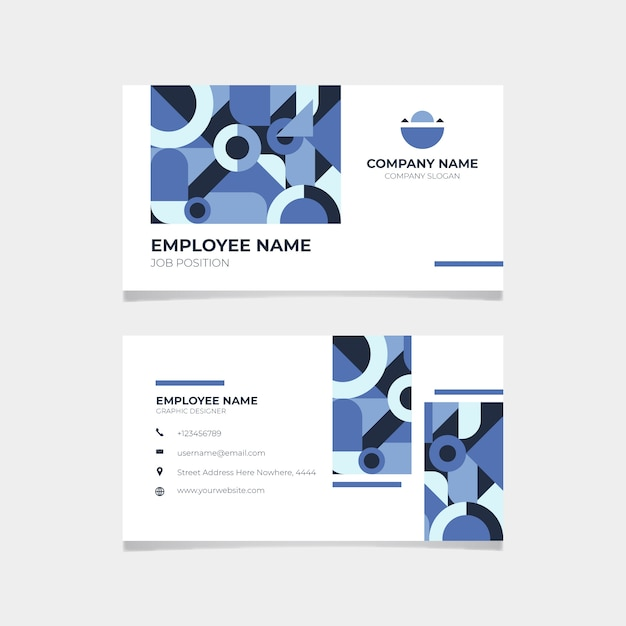 Corporative classic blue business card Free Vector