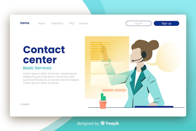 Corporative contact us landing page Free Vector