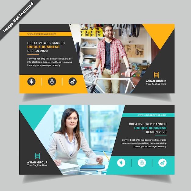 Corporative double side flyer template Premium Vector