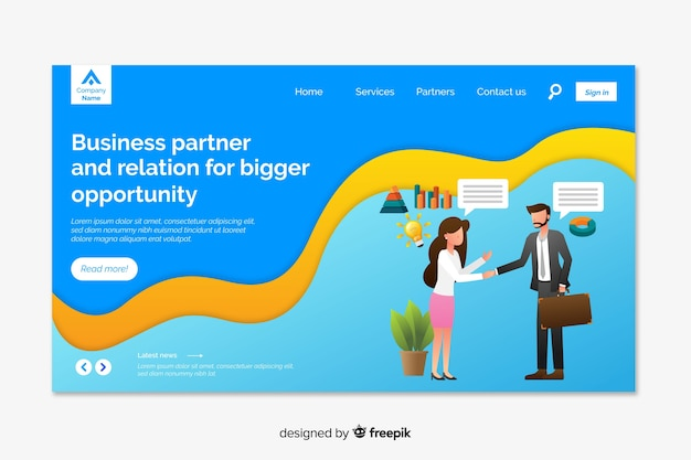 Corporative landing page web template for business or agencies Free Vector