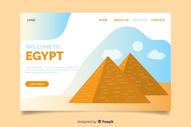 Corporative landing page web template for egypt travel agency Free Vector