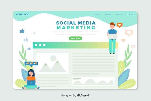 Corporative landing page web template for social media marketing agencies Free Vector