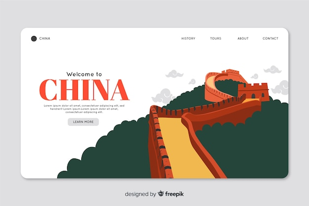 Corporative landing page web template for tour operator agency in china Free Vector