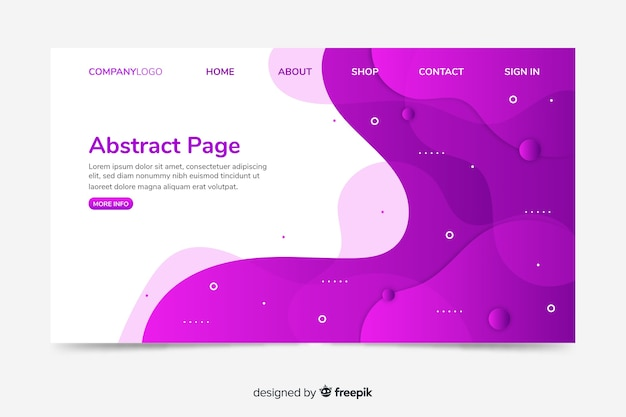Corporative landing page web template with abstract design Premium Vector